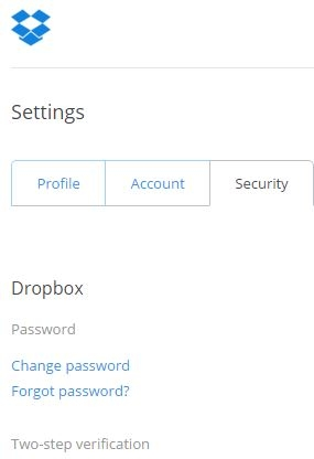 DropBox Settings